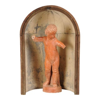 Antique Italian Stone Sculpture of a Youth or Putto Enclosed in an Zinc and Wood Apse circa 1770