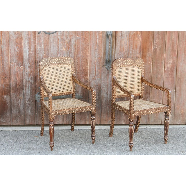 Boho Chic Bone Inlay Colonial Arm Chairs, Pair For Sale - Image 3 of 11