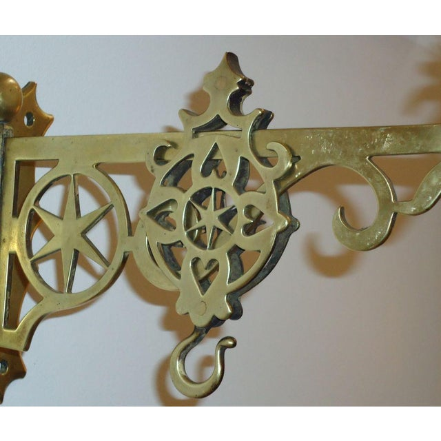 Gold 19th Century Rare New England Brass Wall Bracket with Hearts & Stars For Sale - Image 8 of 9