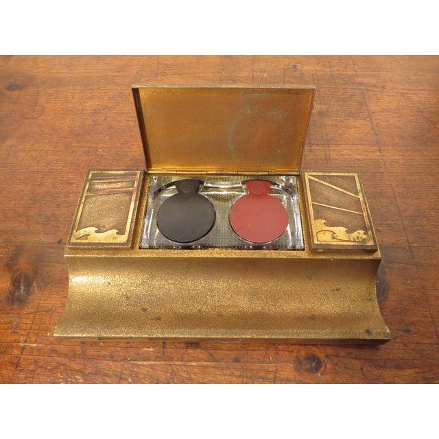 Art Deco Antique Art Deco Silver Crest Bronze Desk Inkwell For Sale - Image 3 of 11