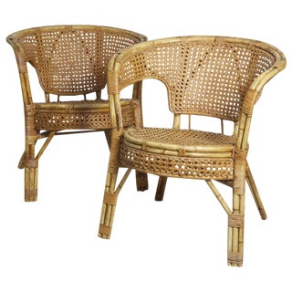 Rattan Cane Arm Chairs - A Pair