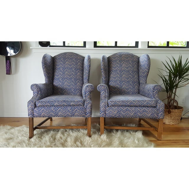 Chippendale Wingbacks in Navy Tribal - A Pair - Image 2 of 8