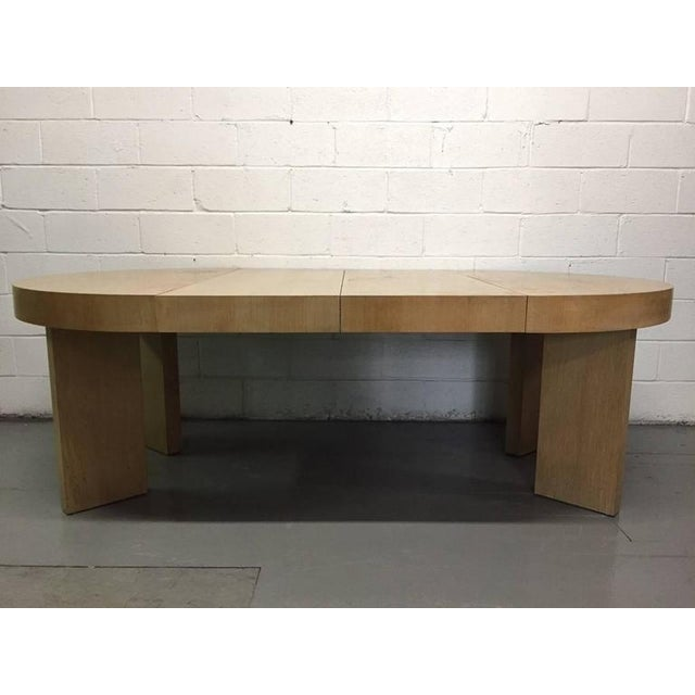 Cerused Oak James Mont Style Dining Table with Two Extensions - Image 3 of 6