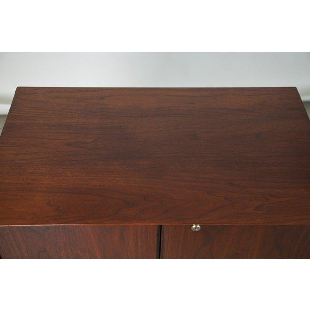 Small Mid-Century Modern Lockable Walnut Cabinet or Mini-Bar or Dry Bar For Sale - Image 10 of 13
