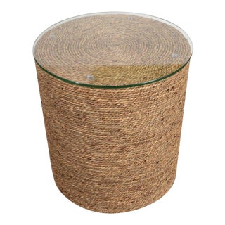 Small Rattan Wrapped Side Table For Sale