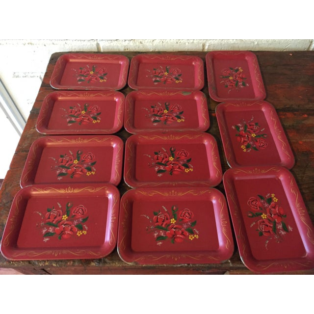 Red Rose Tole Trays - Set of 11 - Image 3 of 7