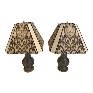 Pewter and Brass Table Lamps With Custom Shades - a Pair For Sale