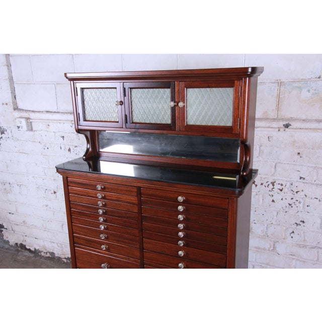 English 1920s Exceptional Antique 22 Drawer Mahogany Dental Cabinet For Sale - Image 3 of 13