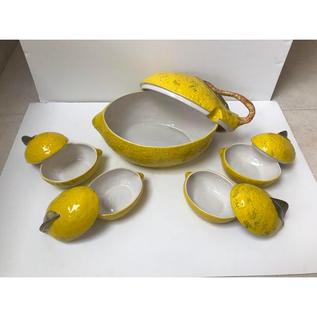 Italian Vintage Italian Lemon Tureen and 4 Matching Soup Bowls For Sale - Image 3 of 9