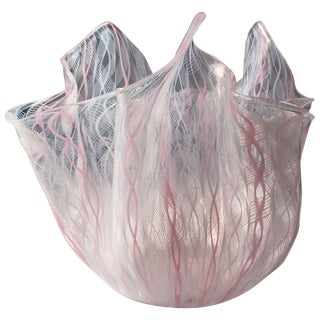 Signed Venini Fazzoletto Handkerchief Glass Vase by Fulvio Bianconi For Sale