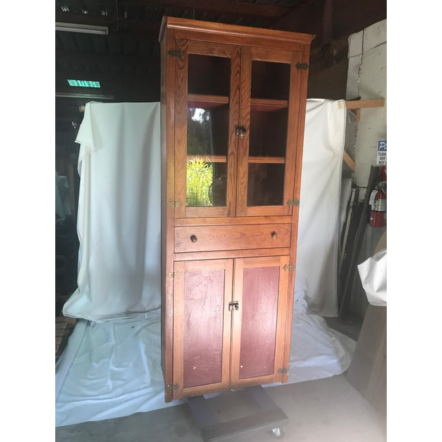 Wood Vintage Rustic Pine Kitchen Cabinet For Sale - Image 7 of 7