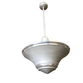 Art Deco Spun Aluminium Saucer Ceiling Pendant Lamp For Sale