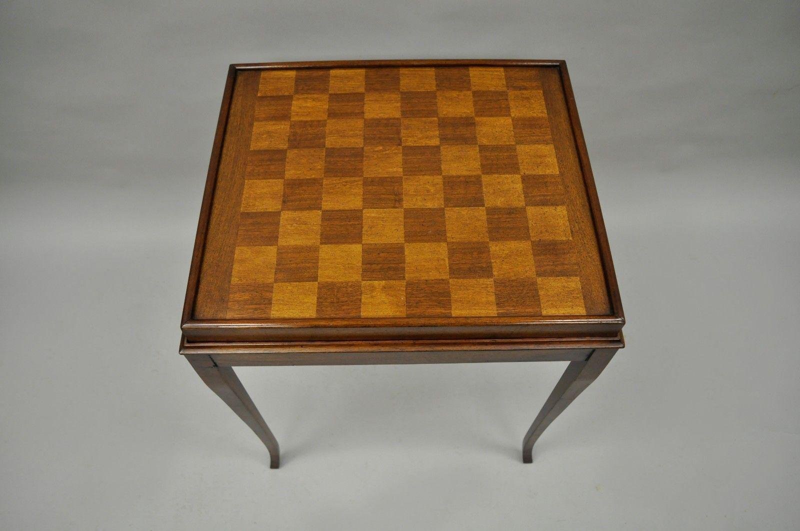Brandt Inlaid Chess Checkers Game Table Brass Flip Lift Out Tray Mahogany  Wood   Image 3