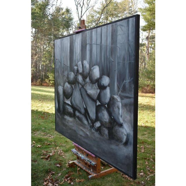 """Sculptural Stone Wall"", Contemporary Large Painting by Stephen Remick For Sale - Image 10 of 13"