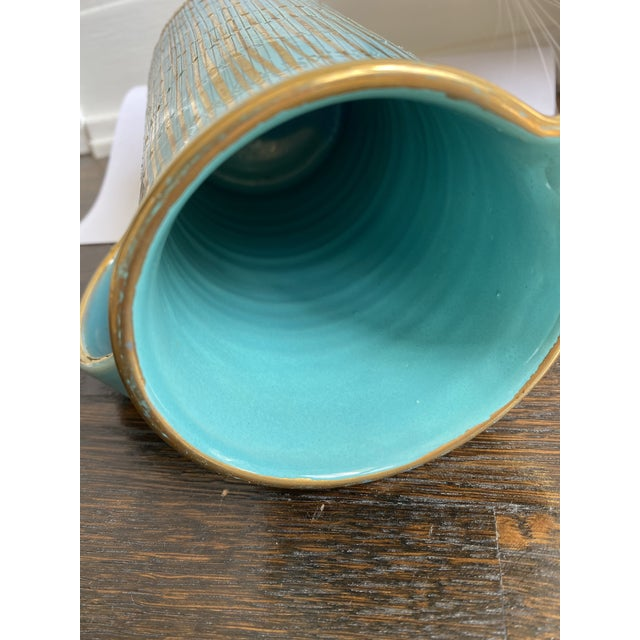Mid-Century Modern Mid 20th Century Mid Century Modern Italian Turquoise and Gold Pitcher/Vase For Sale - Image 3 of 6