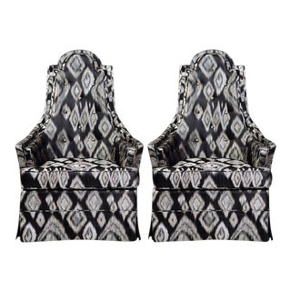 Pair of Hollywood Regency Lounge Chairs in Graphic Ikat Silk For Sale
