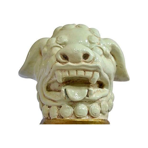 Creme and Gold Ceramic Foo Dog - Image 4 of 6