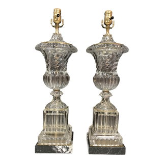 Baccarat Style Paul Hanson Hollywood Regency Glass Crystal Bronze Spiral Urn Table Lamps on Marble Base - a Pair For Sale