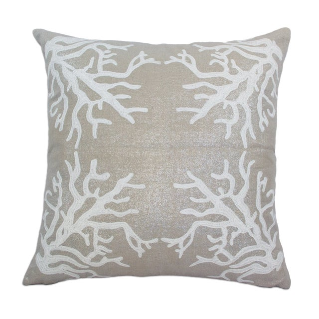 Frosted white embroidered pillow on natural metallic linen. Solid natural metallic linen backing. 95% Feather 5% Down...