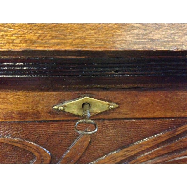 Handmade Carved Slant Desk with the ID of John Hall, Quincy, Mass For Sale - Image 10 of 11
