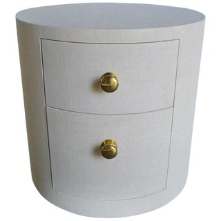 Paul Marra Linen-Wrapped Round Nightstand For Sale