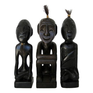 Tribal Wood Figurines - Set of 3 For Sale