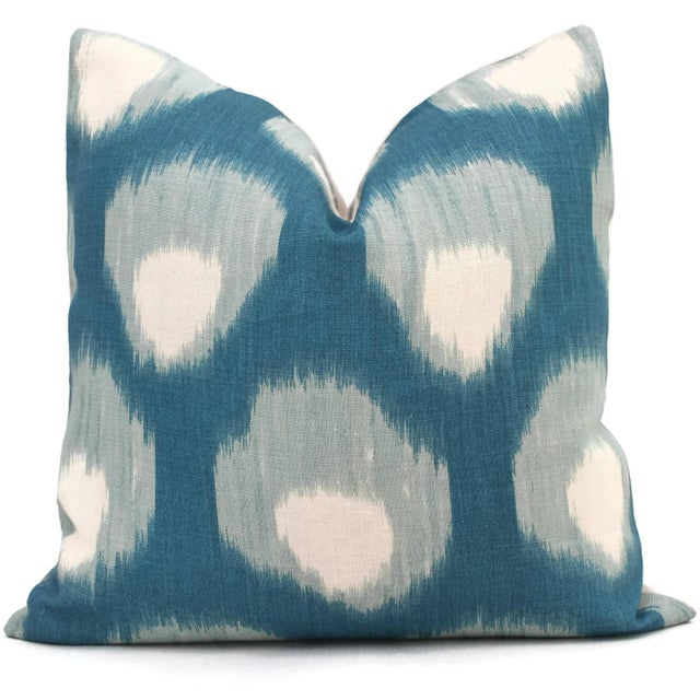 "Contemporary 20"" x 20"" Peter Dunham Peacock Blue Bukhara Decorative Pillow Cover For Sale - Image 3 of 4"