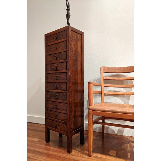 Tall Slim Elm Jewelry Dresser With Brass Chinoiserie Pulls For Sale - Image 10 of 12