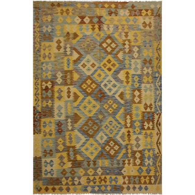 Rustic Southwestern Dustin Gray/Blue Hand-Woven Kilim Wool Rug -5'11 X 8'2 For Sale