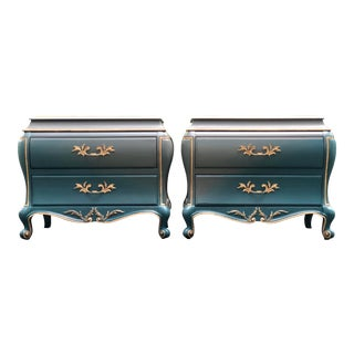 White Furniture Co. Bombe Style Chests / Nightstands - a Pair For Sale
