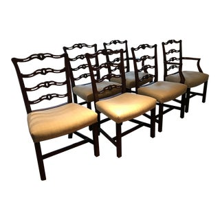 1950s Vintage English Style Ladder Back Dining Chairs- Set of 6 For Sale