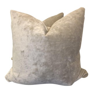 Velvet Stone Grey Pillows - A Pair For Sale