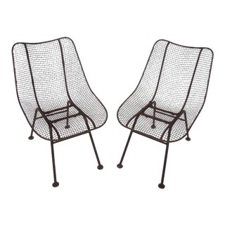 Russell Woodard Wrought Iron & Mesh Chairs - A Pair