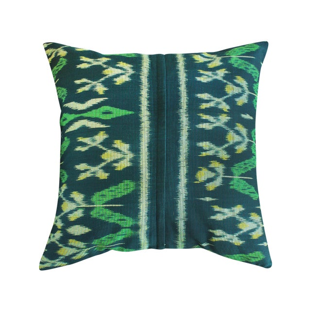 "Handwoven ""Java Banana Leaves"" Ikat Pillow Case - Image 1 of 3"
