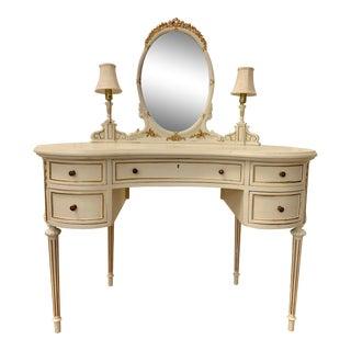 Antique French Kidney Shaped Vanity/Desk For Sale