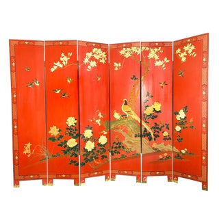 Large Vintage Mid-Century Japanese Solid Wood 6 Panel Dual Sided Room Divider For Sale