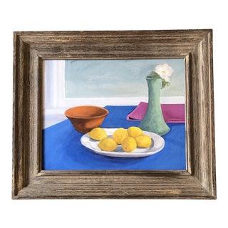 Original Vintage Still Life Painting With Lemons For Sale