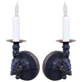 Pair French Black Iron Antique Figural Wall Sconces For Sale