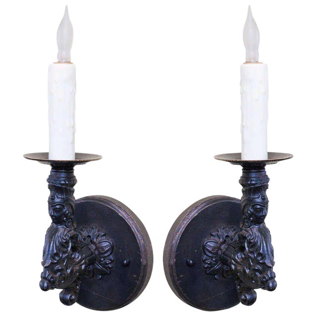 Pair French Black Iron Antique Figural Wall Sconces, circa 1900 - Image 1 of 5