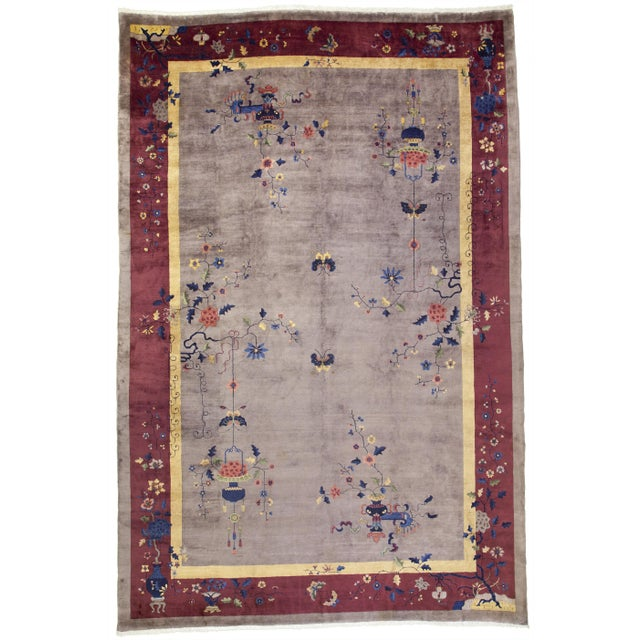 Textile Early 20th Century Antique Chinese Rug - 12′ × 17′ For Sale - Image 7 of 7