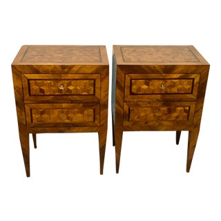 19th C Pair of 2 Drawer Tables From Tuscany For Sale
