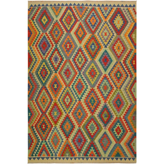 Lan Ivory/Blue Hand-Woven Kilim Wool Rug -8'1 X 9'7 For Sale