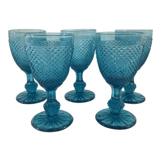 19th Century Blue Baccarat Small Wine Glasses - Set of 5 For Sale