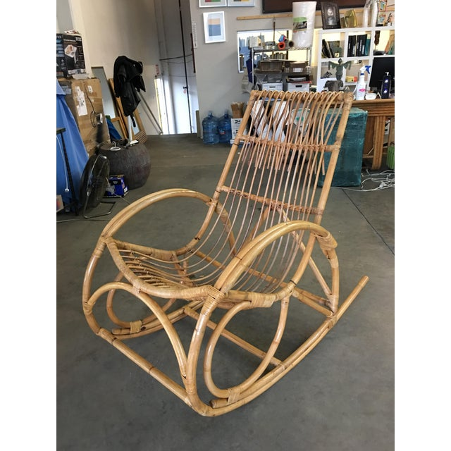 Wood Restored Oversized Stick Rattan Rocking Chair in the Style of Franco Albini For Sale - Image 7 of 12
