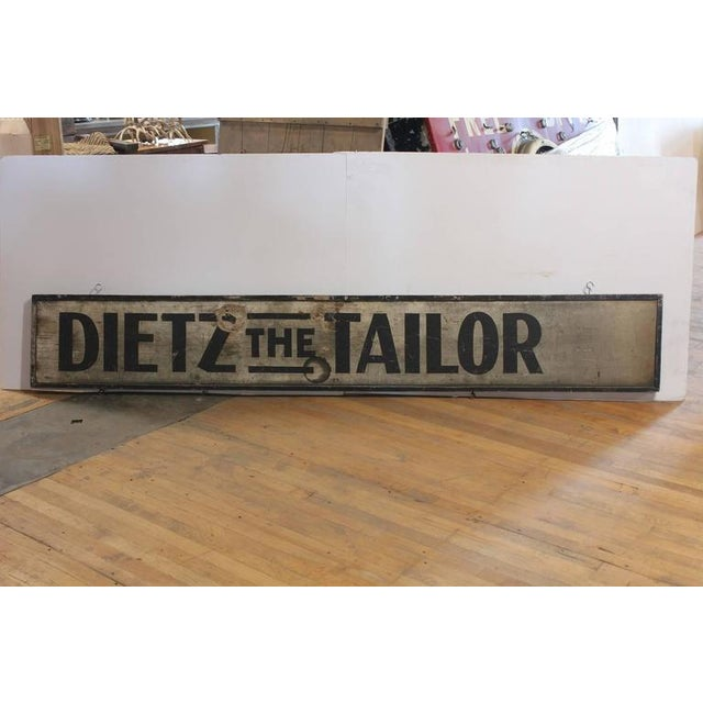 1900s hand-painted wood sign Dietz The Tailor.