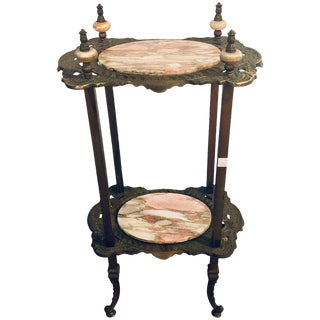 Antique Bronze Two-Tier Onyx Pedestal or End Table For Sale
