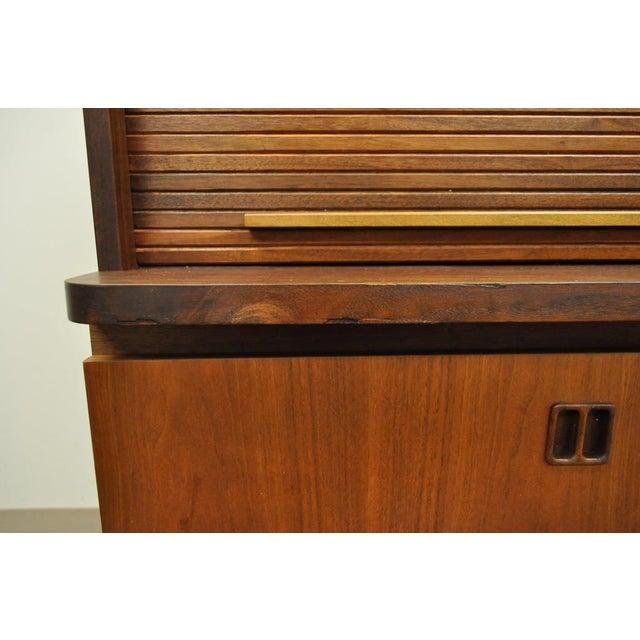 1960's Danish Style Teak Tambour Roll Top Secretary Desk For Sale In Philadelphia - Image 6 of 13