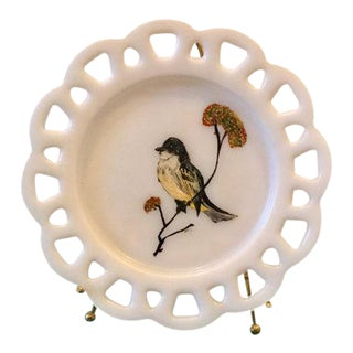 Milk Glass Lace Edge Hand Painted Bird Plate