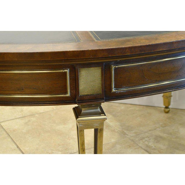 Mastercraft Exceptional Midcentury Semi Circular Brass and Burled Wood Desk by Mastercraft For Sale - Image 4 of 13