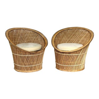 Pair of Vintage Wicker Rattan and Velvet Peacock Chairs For Sale
